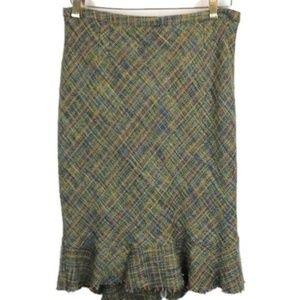 Anthropologie Elevenses Tweed Pencil Skirt Ruffle